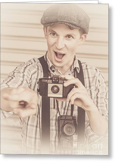 Funny Classic Paparazzo Staging Capture Greeting Card