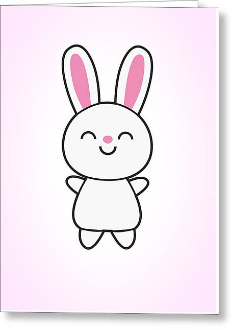 Funny Cute Rabbit Bunny In Pink Greeting Card by Philipp Rietz