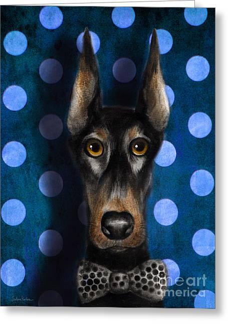 Funny Doberman Pincher Gentleman Dog Portrait Greeting Card