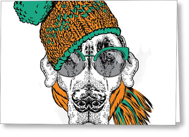 Funny Dog In Hat, Scarf And Glasses Greeting Card