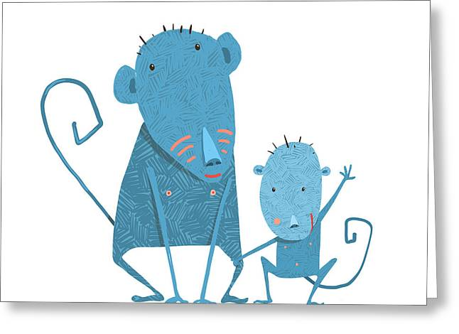 Funny Kids Monkey Characters Mother And Greeting Card