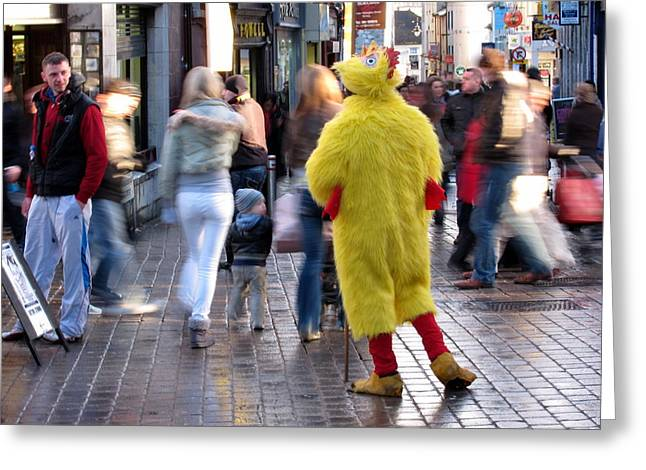 Funny Man In Chicken Costume Greeting Card by Patrick Dinneen