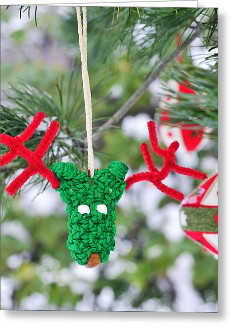 Funny Reindeer Ornament On Pine Tree Greeting Card