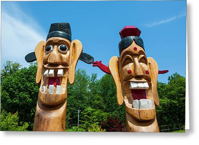 Funny Statues At The High Security Greeting Card