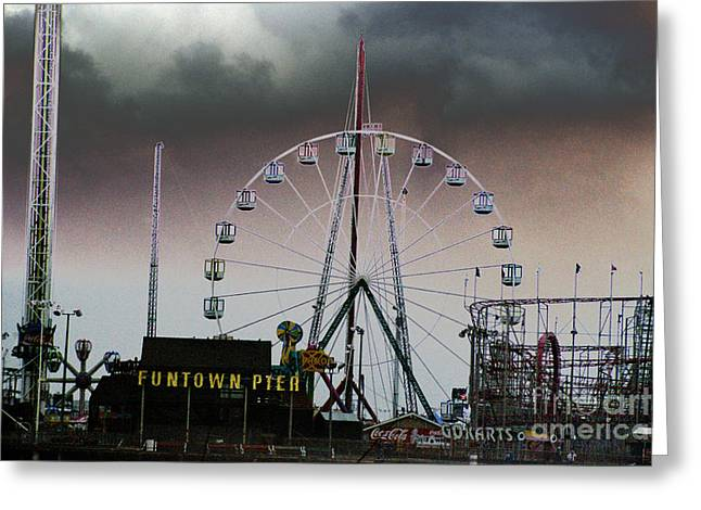 Funtown Pier Greeting Card by Kathy Flugrath Hicks