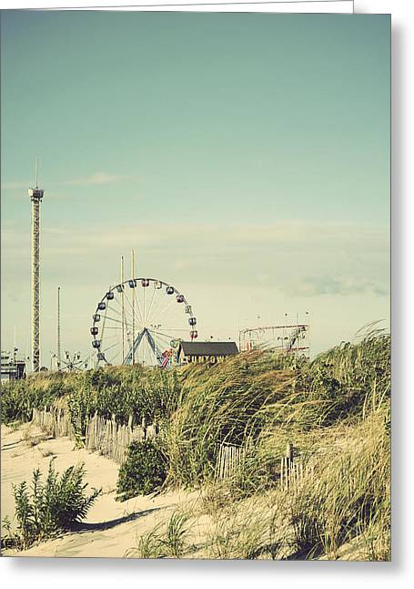 Funtown Pier Seaside Park New Jersey Vintage Greeting Card by Terry DeLuco