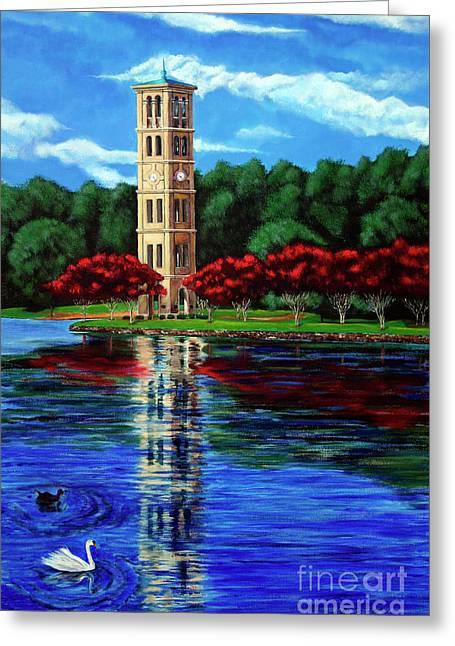 Furman University Bell Tower Greeting Card by AWellsArtworks Fine Art