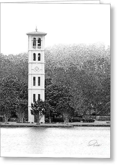 Furman Tower - Architectural Renderings Greeting Card by AWellsArtworks Fine Art
