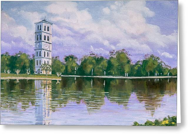 Greeting Card featuring the painting Furman University Clock Tower by Robert Decker