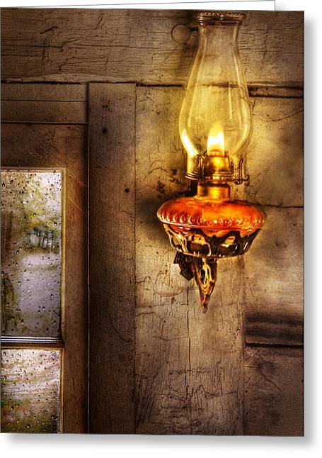 Furniture - Lamp - Kerosene Lamp Greeting Card by Mike Savad