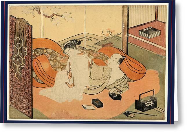 Futon No Naka No Yujo To Kyaku, Suzuki 1 Print  Woodcut Greeting Card
