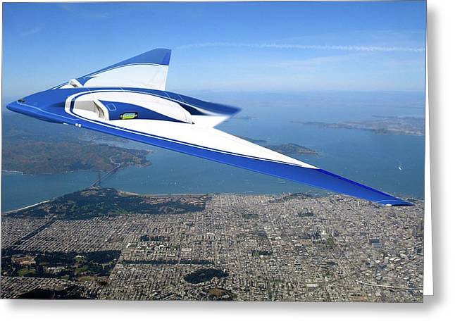 Future Flying Wing Aircraft Greeting Card