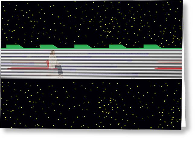 Greeting Card featuring the mixed media Future Transit by Bob Pardue