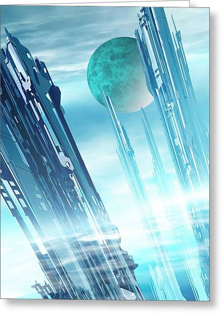 Futuristic City Greeting Card by Victor Habbick Visions