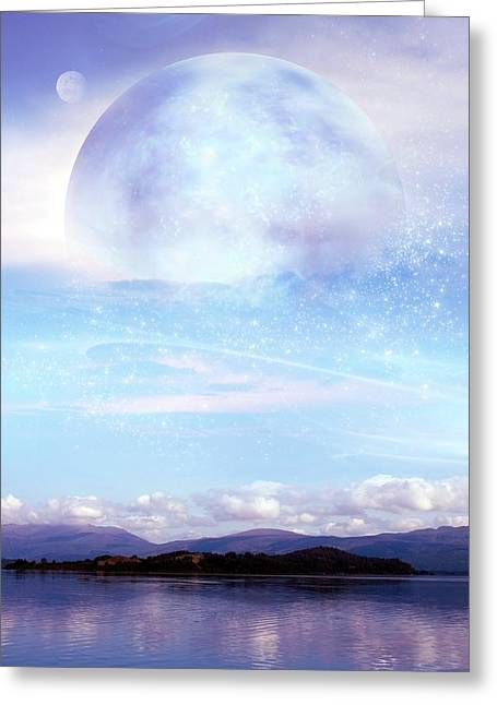 Futuristic Moon Over Water Greeting Card by Victor Habbick Visions