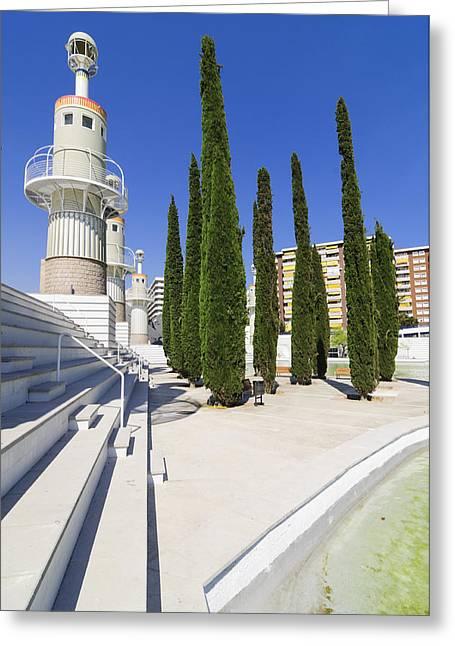 Futuristic Park In Barcelona Spain Greeting Card by Matthias Hauser