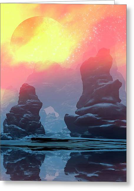 Futuristic Planet Scene Greeting Card by Victor Habbick Visions