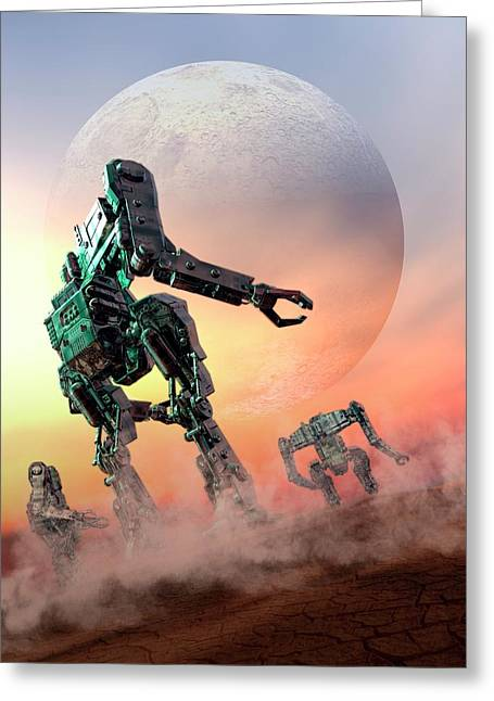 Futuristic Robots Greeting Card by Victor Habbick Visions