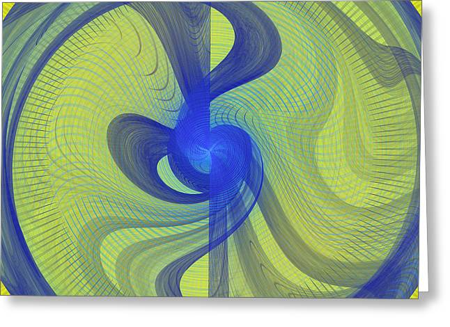 Futuristic Spiral Disc Fractal Flame Greeting Card by Keith Webber Jr