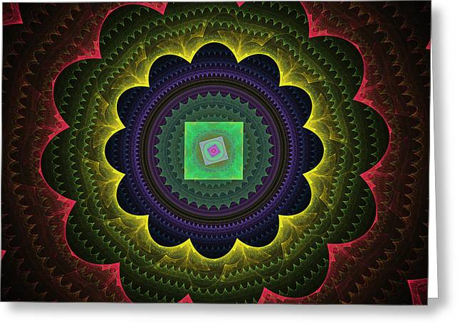 Futuristic Tech Circles Fractal Flame Greeting Card by Keith Webber Jr