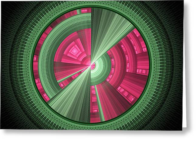 Futuristic Tech Disc Green And Pink Fractal Flame Greeting Card by Keith Webber Jr
