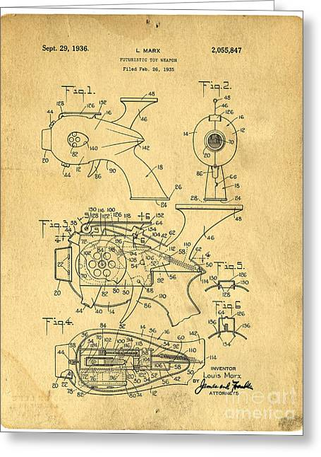 Futuristic Toy Gun Weapon Patent Greeting Card by Edward Fielding