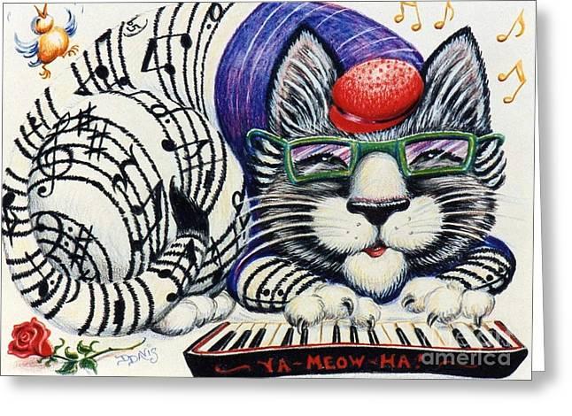 Fuzzy Catterwailen Greeting Card by Dee Davis