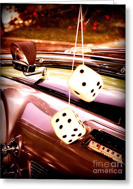 Greeting Card featuring the digital art Fuzzy Dice by Valerie Reeves
