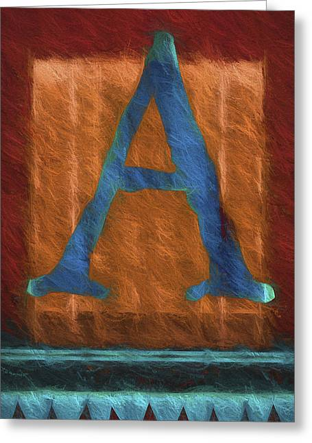 Fuzzy Letter A Greeting Card by Carol Leigh