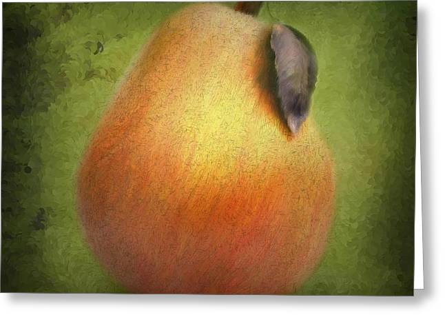 Fuzzy Pear Greeting Card by Nina Bradica