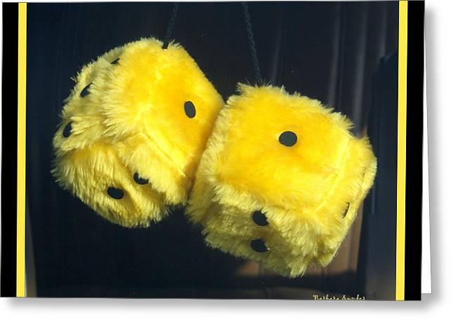 Fuzzy Yellow Dice Greeting Card