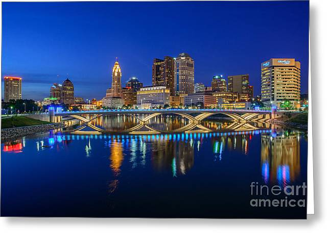 Fx2l530 Columbus Ohio Night Skyline Photo Greeting Card