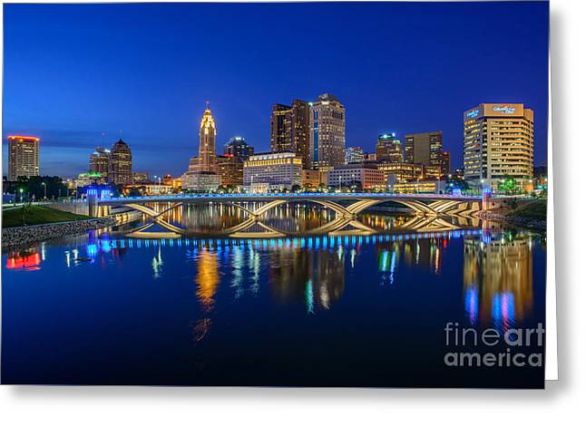 Fx2l530 Columbus Ohio Night Skyline Photo Greeting Card