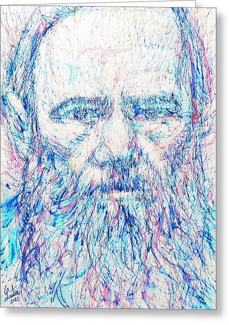 Fyodor Dostoyevsky / Colored Pens Portrait Greeting Card by Fabrizio Cassetta