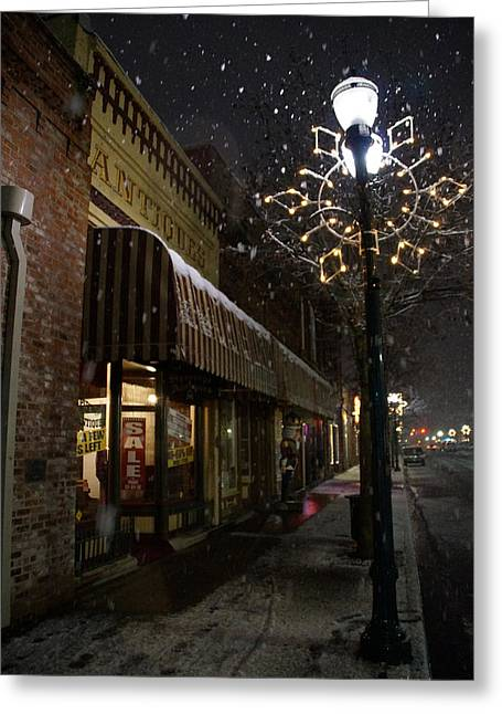 G Street Antique Store In The Snow Greeting Card by Mick Anderson