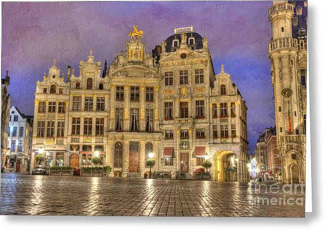 Gabled Buildings In Grand Place Greeting Card