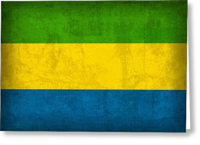 Gabon Flag Vintage Distressed Finish Greeting Card by Design Turnpike