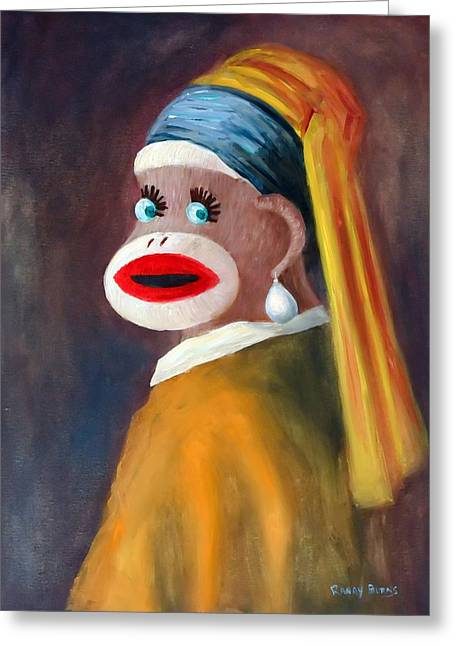 Greeting Card featuring the painting Gal With A Pearl Earbob by Randol Burns