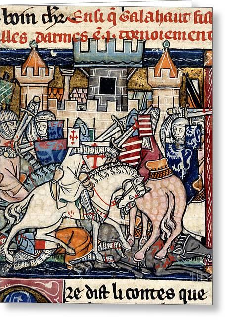 Galahad And Gawain In Tournament Greeting Card