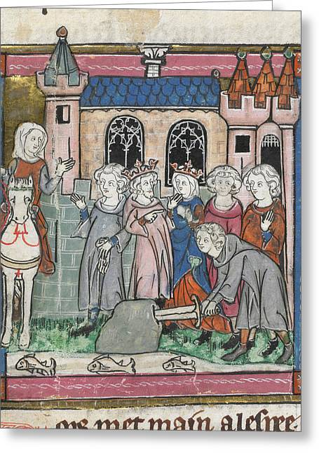 Galahad Draws Sword From Block Greeting Card