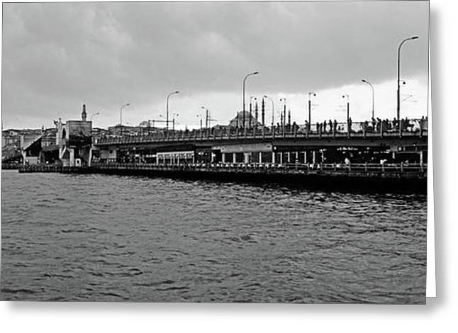 Galata Bridge Over Golden Horn, Yeni Greeting Card by Panoramic Images
