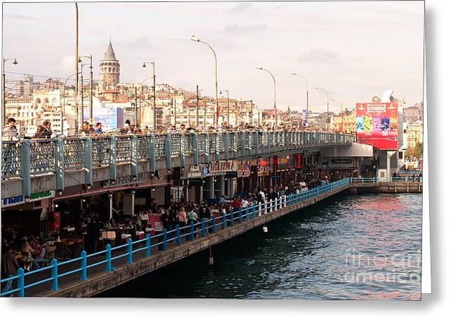 Galata Skyline And Bridge 02 Greeting Card