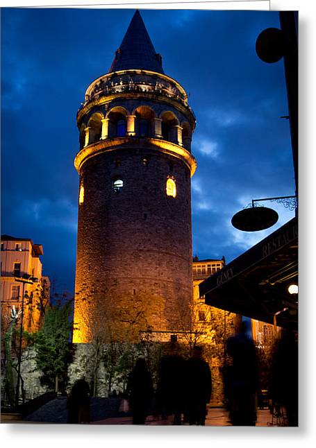 Galata Tower Greeting Card by Merthan Kortan