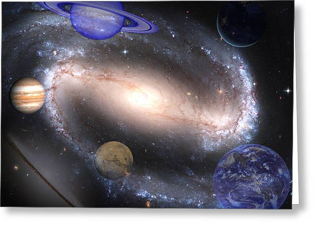 Galaxies And Planets Greeting Card by J D Owen