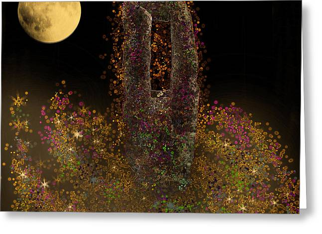 Galaxy And Full Moon Greeting Card by Augusta Stylianou