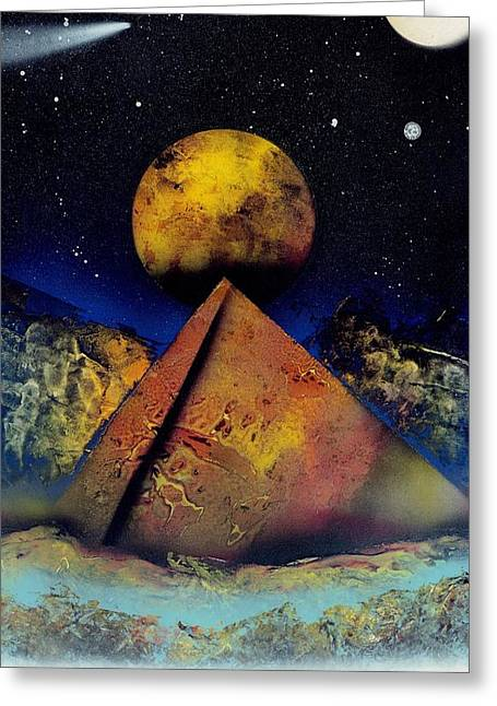 Galaxy Desert Pyramids Greeting Card by Marc Chambers