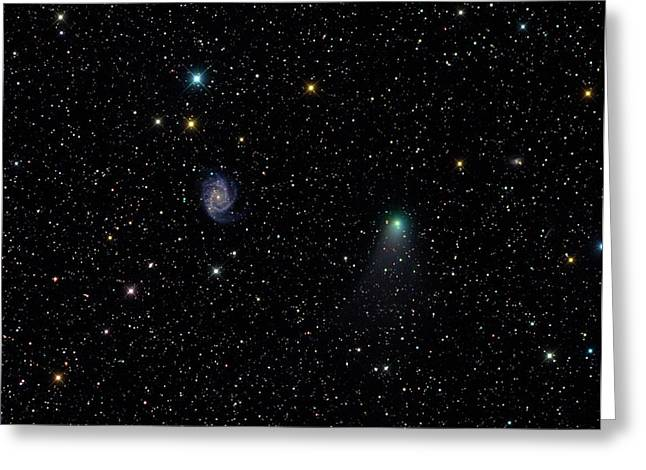 Galaxy Ngc 2997 And Comet C2012 V2 Greeting Card