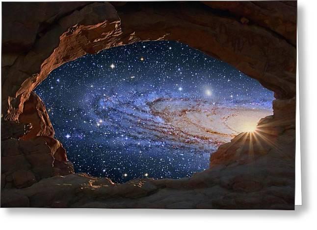 Galaxy Seen Through A Rock Arch Greeting Card