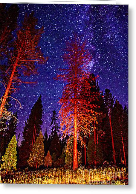 Greeting Card featuring the photograph Galaxy Stars By The Campfire by Jerry Cowart