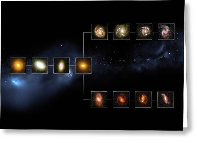 Galaxy Types 11 Billion Years Ago Greeting Card by European Space Agency/nasa/m. Kornmesser